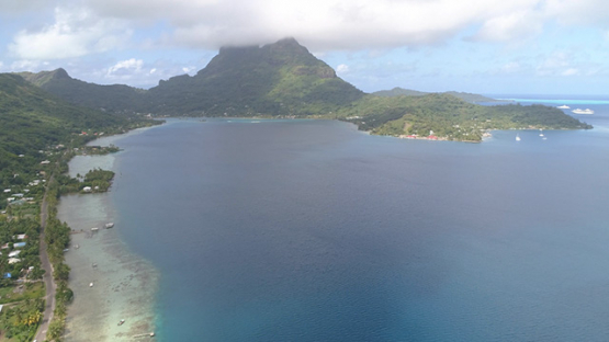 Bora Bora, aerial view of the mount Otemanu and Faanui Bay, 4K UHD