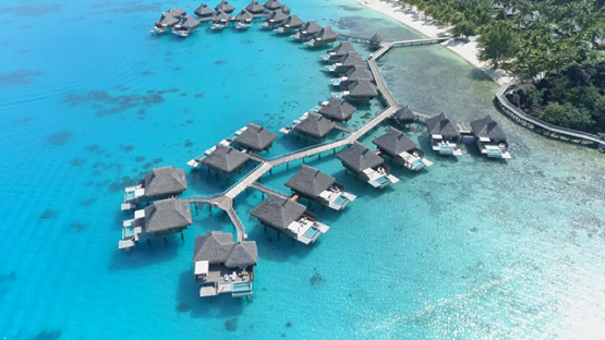 Bora Bora, aerial view of a luxury overwater hotel, 4K UHD