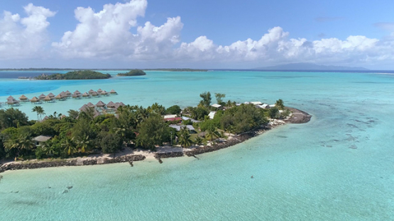 Bora Bora, aerial view of the  Pointe Matira, 4K UHD