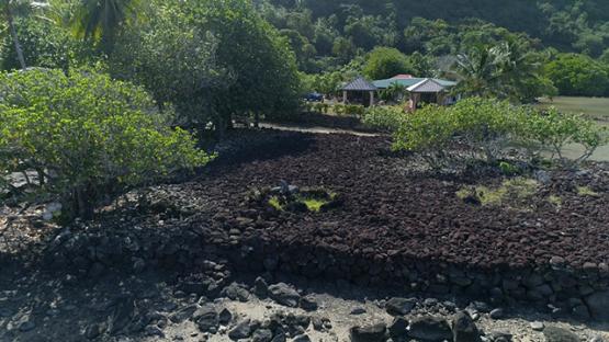 Maupiti, aerial view of the marae Vaiahu, 4K UHD
