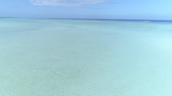 Maupiti, aerial view of the shallow lagoon, 4K UHD