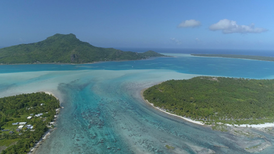 Maupiti, aerial view of the island and motu Pae ao, 4K UHD