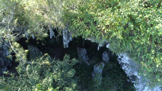 Rurutu, aerial view of the cave Ana Ae