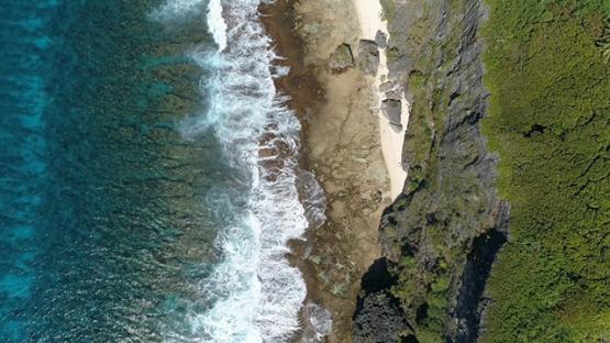 Rurutu, aerial view above the cliffs, 4K UHD