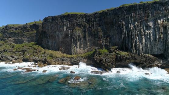 Rurutu, aerial view of the cliffs, 4K UHD