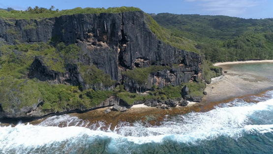 Rurutu, aerial view of the cliff of Toarepe point, 4K UHD
