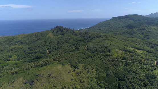 Rurutu, aerial view of the island and hills, 4K UHD
