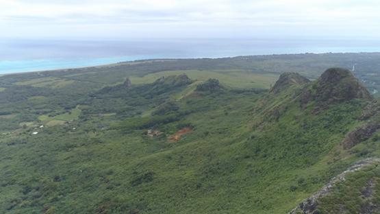 Tubuai, aerial view of the mount Hanareho, 4K UHD