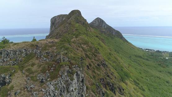 Tubuai, aerial view of the top of mount Hanareho, 4K UHD