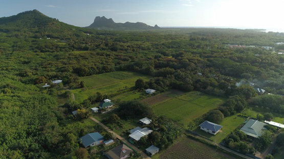 Tubuai, aerial view of the montain the laying man, 4K UHD