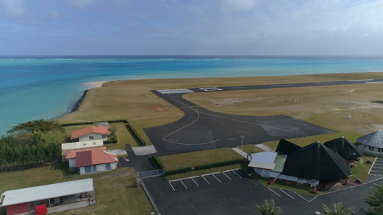 Tubuai, aerial view of the airport and tarmac, 4K UHD