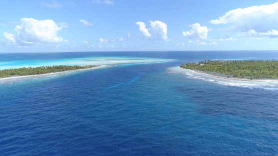 Fakarava, aerial view of the pass Tetamanu and islets, 4K UHD