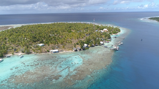 Fakarava, aerial view of the pass Tetamanu and family guest house, 4K UHD