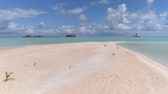 Fakarava, aerial view of islets and pink sand of Tetamanu, 4K UHD