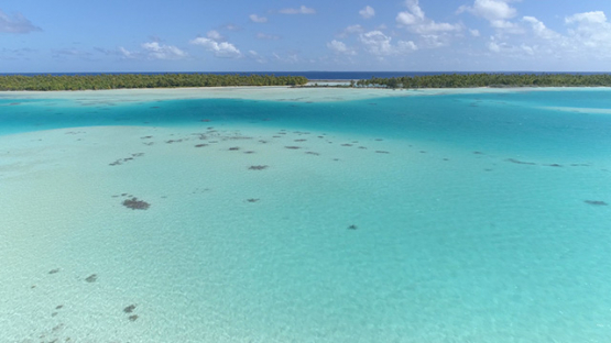Fakarava, aerial view of the green lagoon and islets, 4K UHD