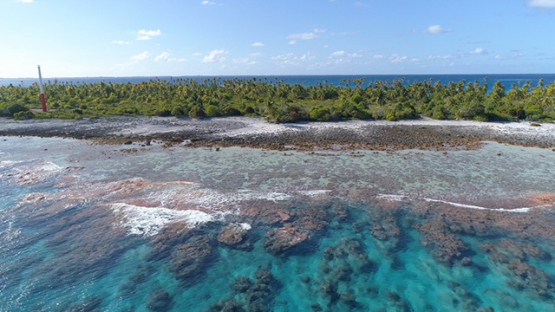 Fakarava, aerial view along the reef near the north pass, 4K UHD
