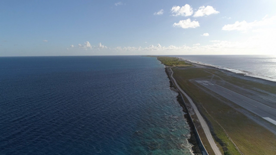 Fakarava, aerial view of the Airport Runway, 4K UHD