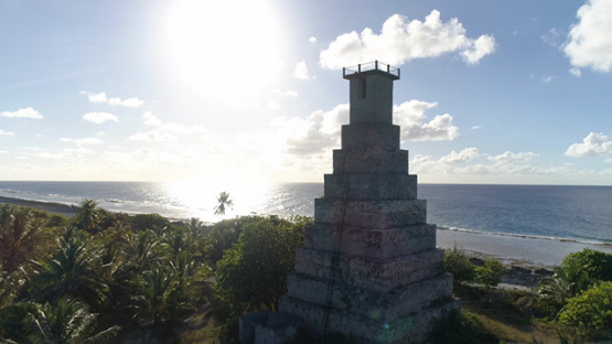 Fakarava, aerial view of the old light tower, 4K UHD