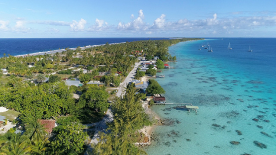 Fakarava, aerial view of the village Rotoava, 4K UHD
