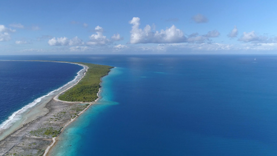 Fakarava, aerial view of the atoll and barrier reef, 4K UHD