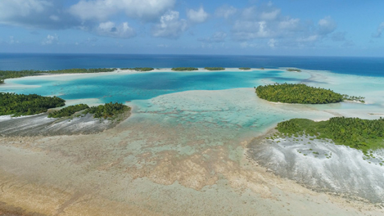 Rangiroa, aerial view of the blue lagoon, barrier reef and islets, 4K UHD