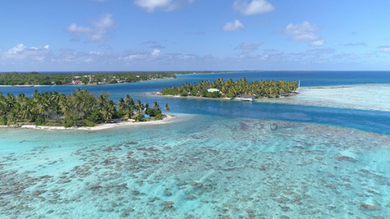 Rangiroa, aerial view of the pass Avatoru and islet, 4K UHD