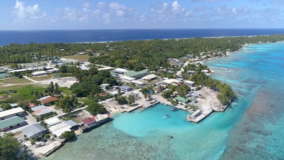 Rangiroa, aerial view of the village Avatoru and the marina, 4K UHD