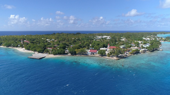 Rangiroa, aerial view of the pass and the village Avatoru, 4K UHD
