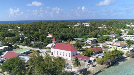 Rangiroa, aerial view of the village Avatoru and church, 4K UHD