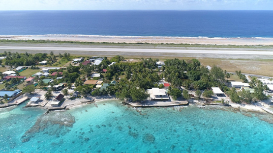 Rangiroa, aerial view of the airport and runway, 4K UHD