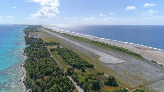 Rangiroa, aerial view of the airport and runway, 4K UHD