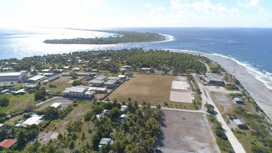 Rangiroa, aerial view of the village Tiputa and the pass, 4K UHD