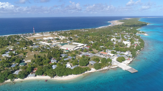 Rangiroa, aerial view of the village Tiputa, 4K UHD