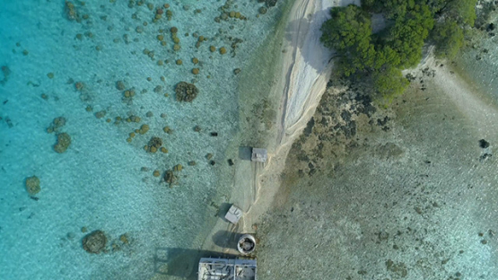 Tikehau, aerial view above the abandoned pearl farm, 4K UHD