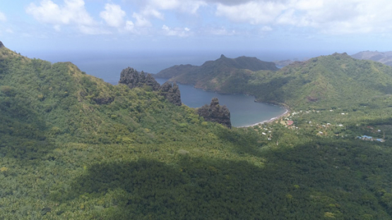 Nuku Hiva, aerial view of the valley Hatiheu, 4K UHD