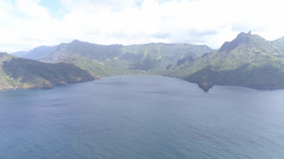 Nuku Hiva, aerial view of Hatiheu bay, 4K UHD