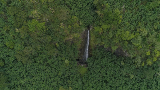 Nuku Hiva, aerial view of the valley Hatiheu and waterfall, 4K UHD