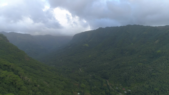 Nuku Hiva, aerial view of the valley Taipivai, 4K UHD