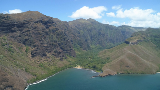 Nuku Hiva, aerial view of the bay of Hakaui valley, 4K UHD