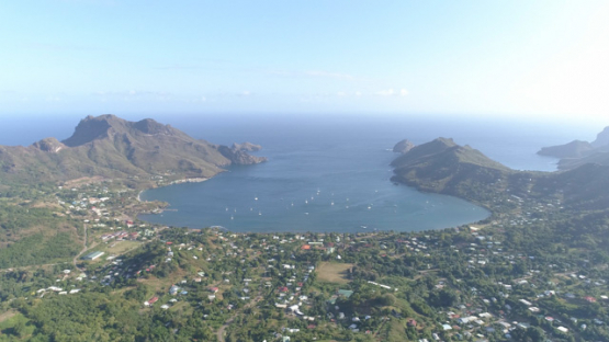 Nuku Hiva, aerial view of the Bay of Taiohae, 4K UHD