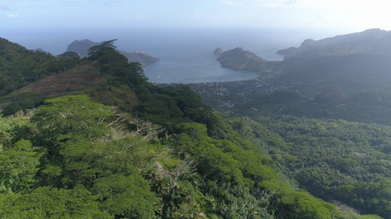 Nuku Hiva, aerial view of the bay Taiohae and mount Muake, 4K UHD
