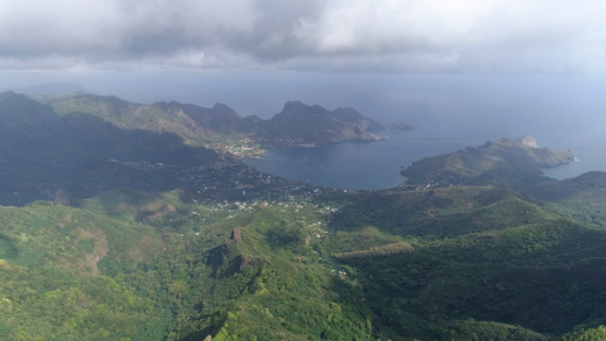 Nuku Hiva, aerial view of the bay Taiohae, 4K UHD