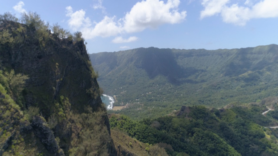 Hiva Oa, aerial view of the valley and village of Puamau, 4K UHD