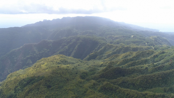 Hiva Oa, aerial view from the top on the mountains and valleys, 4K UHD