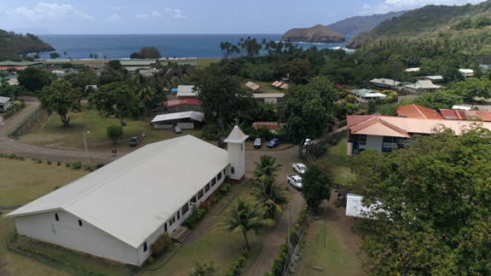 Hiva Oa, aerial view of the church of Atuona, 4K UHD