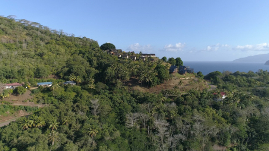 Hiva Oa, aerial view of Atuona and its hotel, 4K UHD