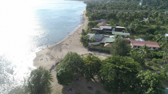 Tahiti, aerial view of the Beach Vaiava, Pk18 Paea, 4K UHD