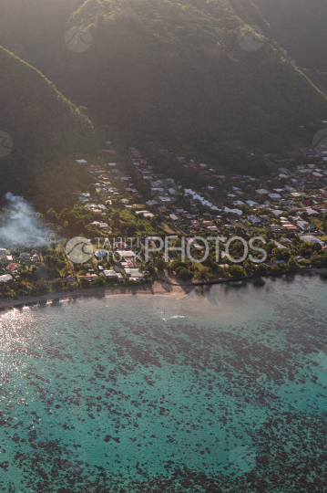 Tahiti, aerial view of the beach at pk18, in the morming