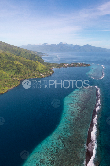 Peninsula of Tahiti, aerial photography of Tautira and lagoon