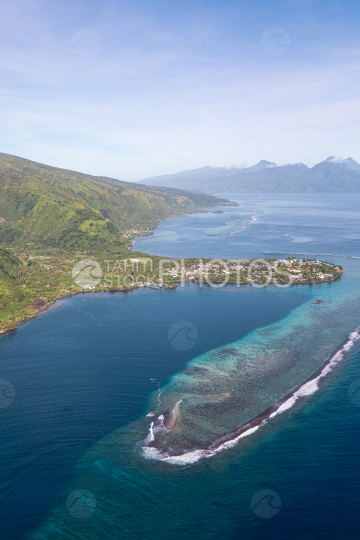 Peninsula of Tahiti, aerial photography of the village Tautira and lagoon
